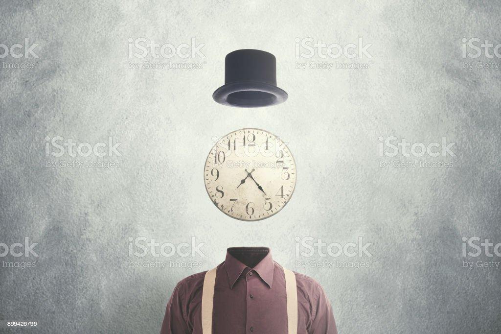 surreal man clock on head stock photo