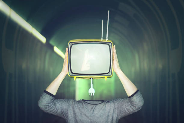 surreal man remove television from his head surreal man remove television from his head detach stock pictures, royalty-free photos & images