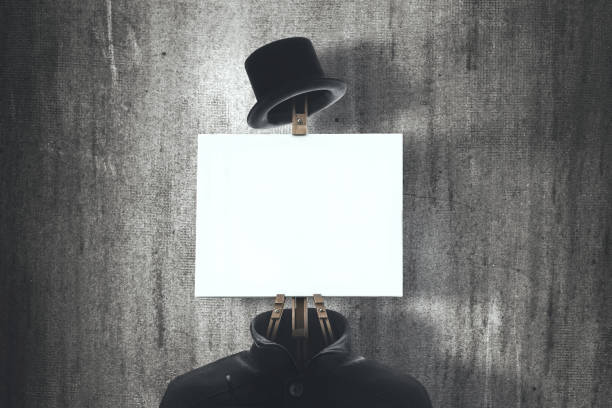 surreal man wear an easel with empty canvas stock photo
