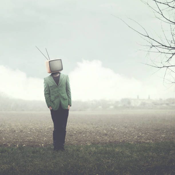 surreal man with television on his head, abstract concept stock photo