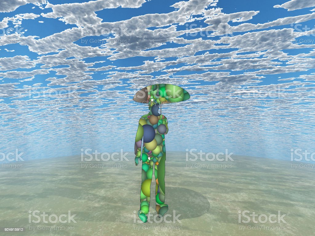 Surreal man with umbrella stock photo