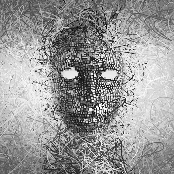 surrealistisch masker abstract met veel draden - mirror mask stockfoto's en -beelden