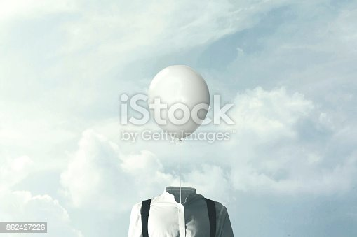 861862204 istock photo surreal minimalist man with big white balloon suspended over his head 862427226