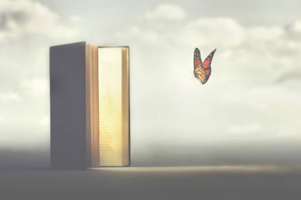 surrealer Moment eines Schmetterlings, der die Seiten eines Buches betritt – Foto