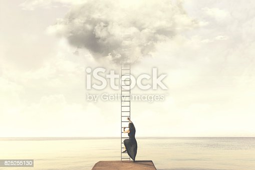 istock Surreal moment of woman climbing an imaginary scale to the clouds 825255130
