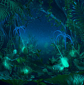 Surreal night jungle with luminescent plants and flowers