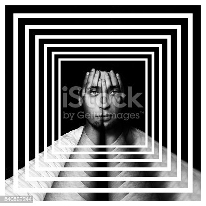 Surreal portrait of a man covering his face and eyes with his hands, face shines through hands, double exposure, perspective grid, outlook, perspective background, labyrinth, maze