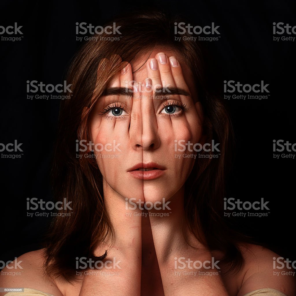 Surreal portrait of a young girl.Double exposure stock photo