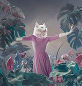 Surreal portrait of white cat