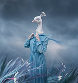 Surreal portrait of white peacock