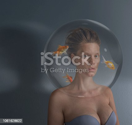 istock Surreal portrait of young women 1061628622