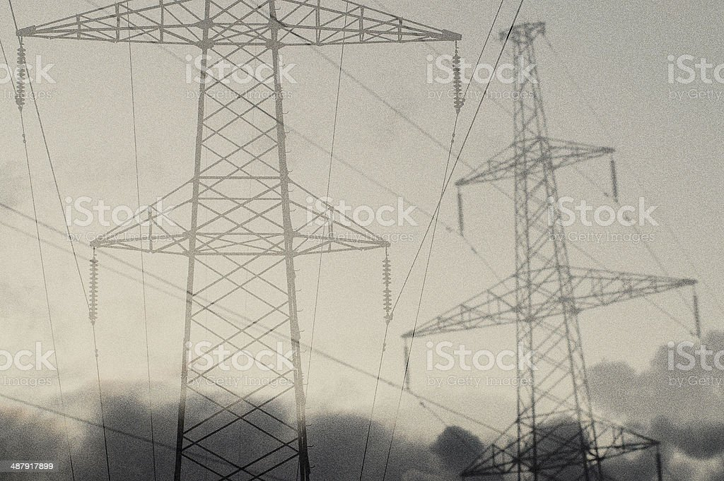 Surreal power lines stock photo