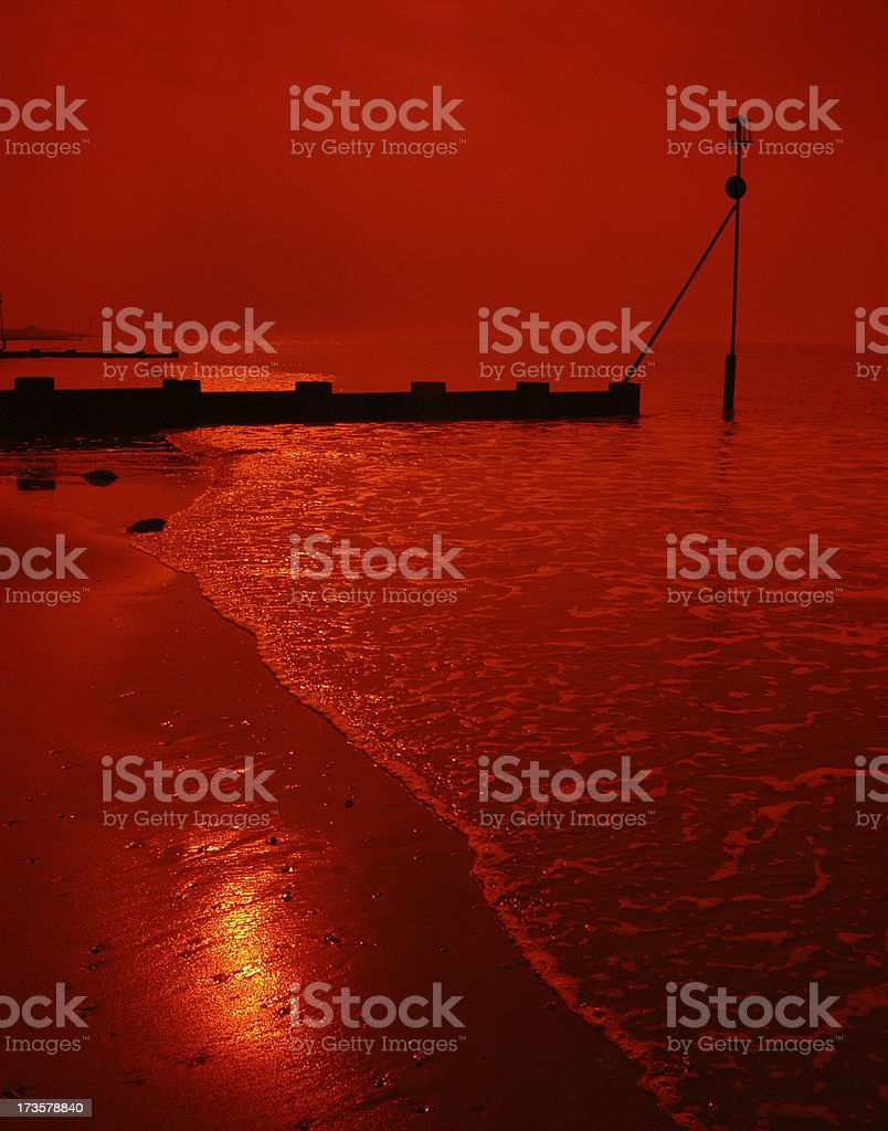 Surreal red sea and sky royalty-free stock photo