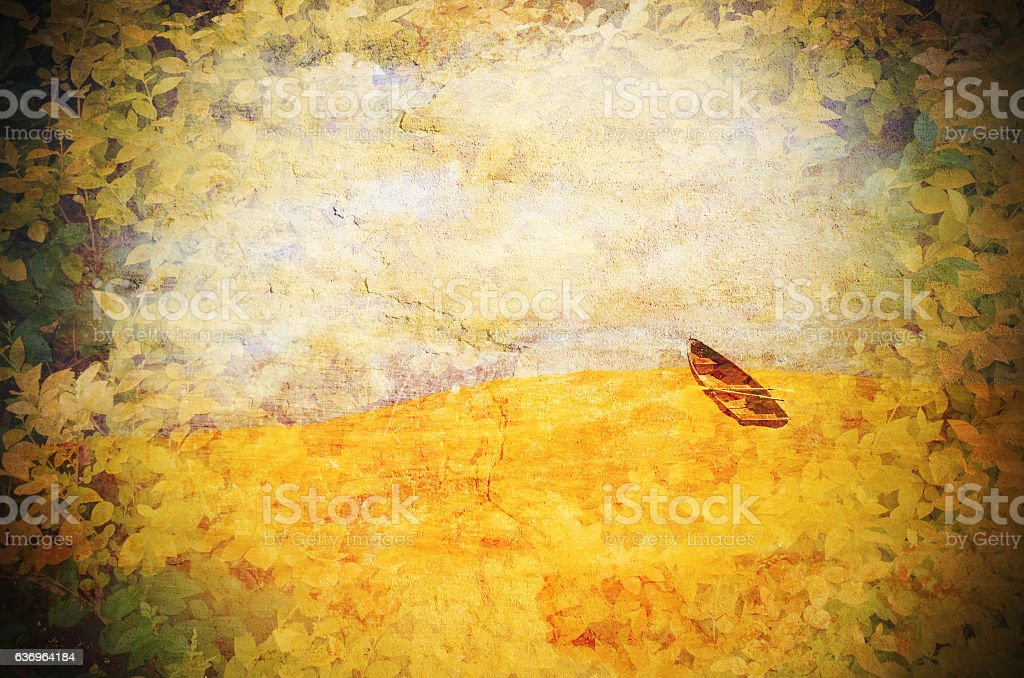 Surreal row boat marooned in the desert. Grunge textured image. stock photo