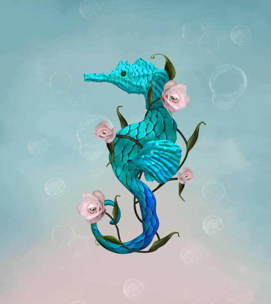 Surreal seahorse with roses stock photo