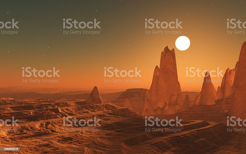 3D surreal space landscape stock photo