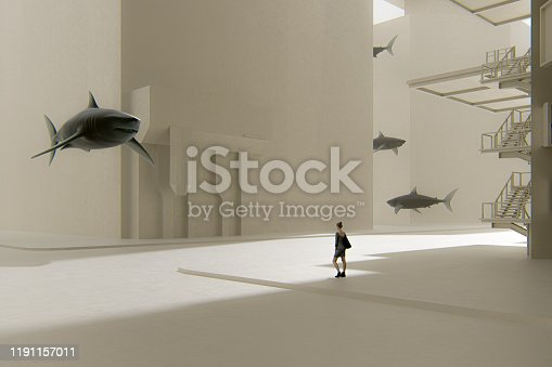 istock Surreal street with woman standing among sharks 1191157011
