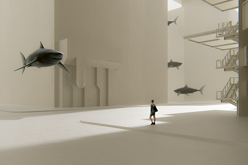 Surreal street with woman standing among sharks. This is entirely 3D generated image.
