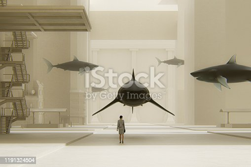 istock Surreal street with woman standing among sharks 1191324504