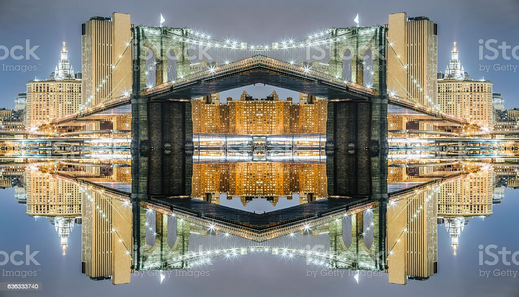Surreal symmetry Brooklyn Bridge at night, Manhattan symmetry background stock photo
