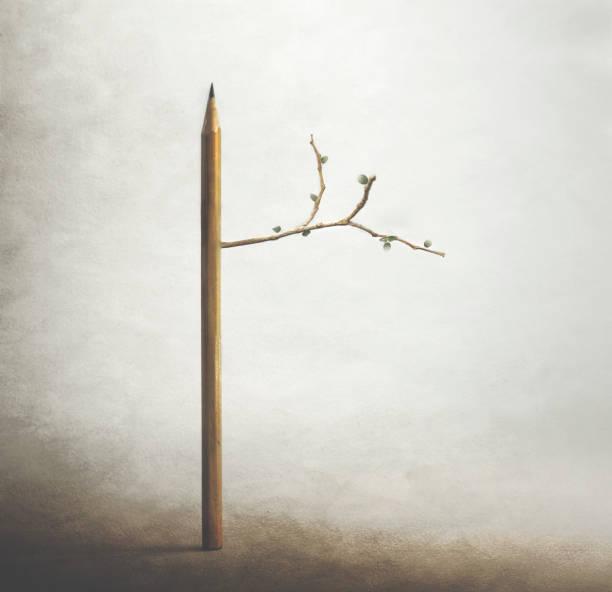 Surrealer Baum mit Bleistiftstamm, Lebens-und Frühlingszeit – Foto