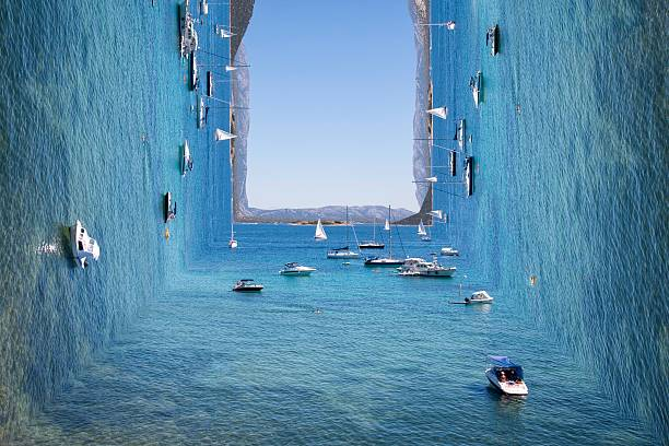 Surreal view on sunny blue sea with island and boats - Photo