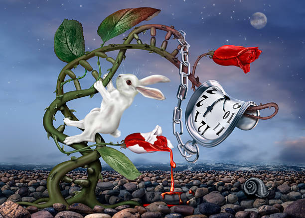Surreal White Rabbit stock photo