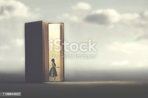 surreal woman travel in the fantasy