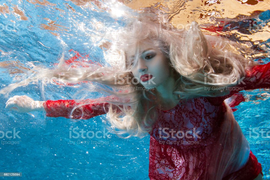 Surrealism is a woman underwater. stock photo