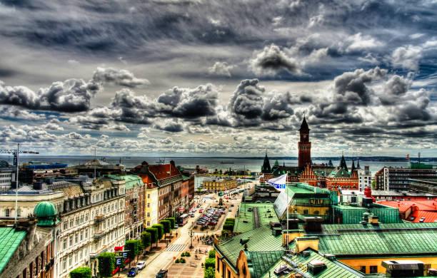 surrealistiska antenn panoramat beskådar till helsingborg, sweden - skåne bildbanksfoton och bilder