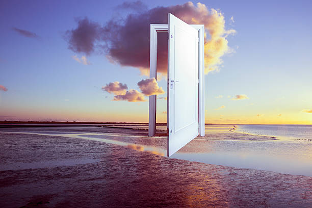surrealistic door to freedom - dreamlike stock photos and pictures
