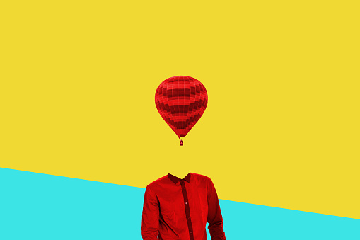 istock Surrealistic minimal concept. A balloon instead of a human head. Minimalism and surrealism 993722466