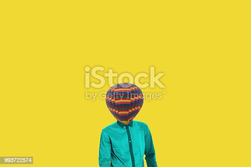 861862204 istock photo Surrealistic minimal concept. A balloon instead of a human head. Minimalism and surrealism 993722574