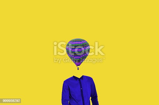 861862204 istock photo Surrealistic minimal concept. A balloon instead of a human head. Minimalism and surrealism. My idea, design and art work 999958292