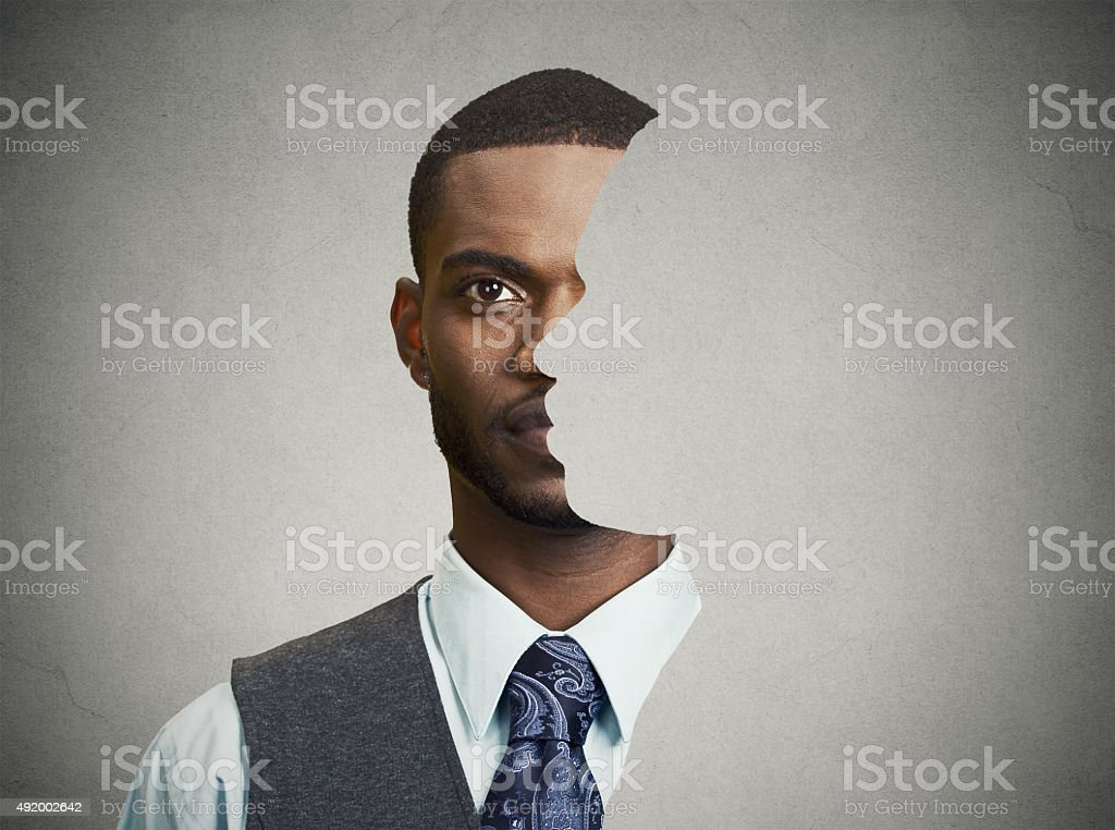 surrealistic portrait front with cut out profile of a man stock photo