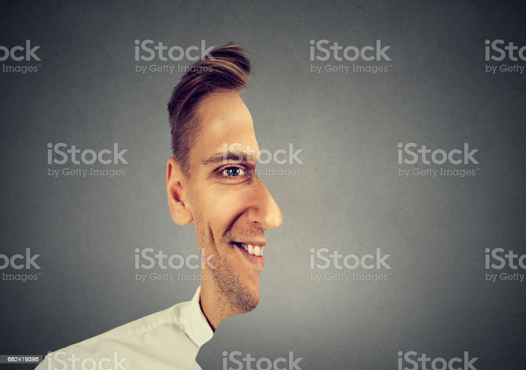 surrealistic portrait front with cut out profile of a man royalty-free stock photo