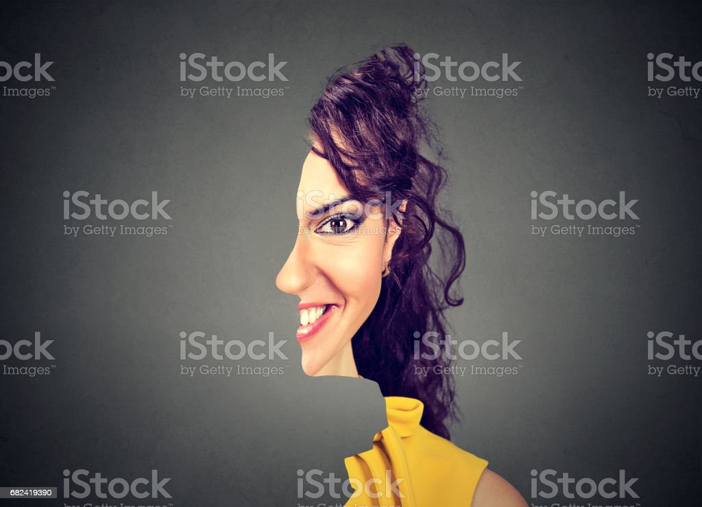 surrealistic portrait front with cut out profile of a woman royalty-free stock photo