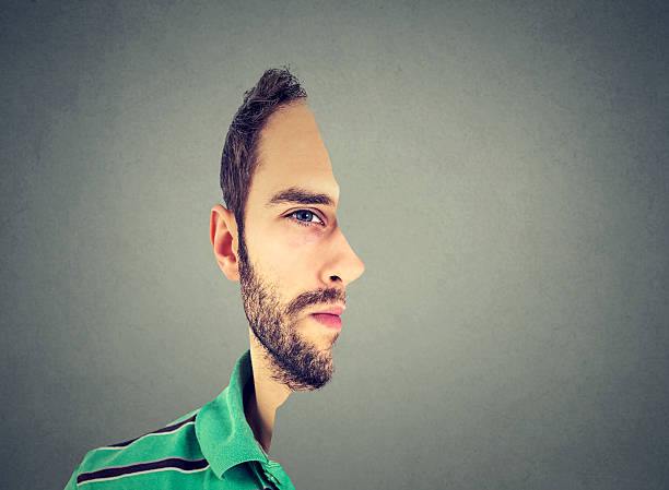 surrealistic portrait front with cut out profile of man - illusion stock photos and pictures