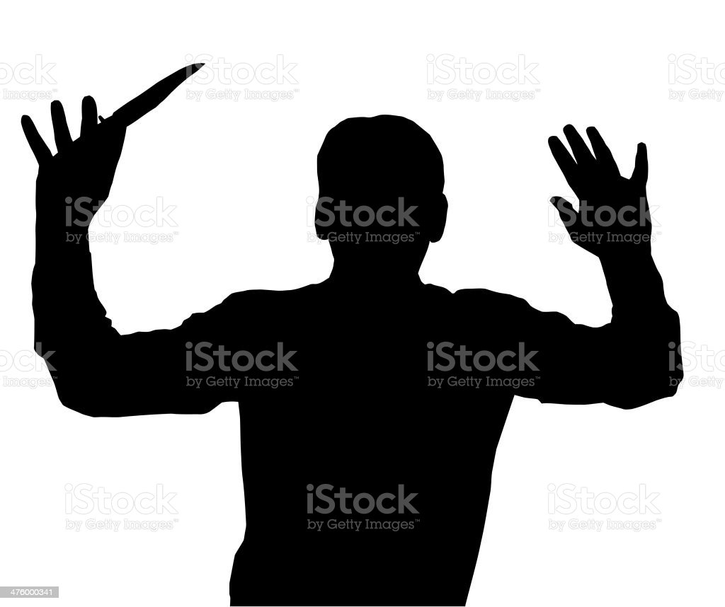 Surrendering with Knife stock photo