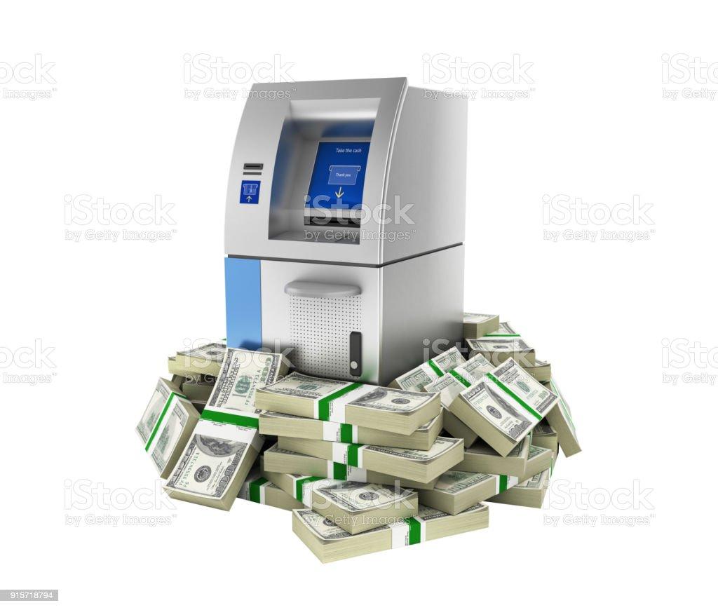 ATM, rodeado por 100 dólares financia banco máquina numa pilha de notas de dólar americano dinheiro sem sombra isolada no branco fundo 3d - foto de acervo