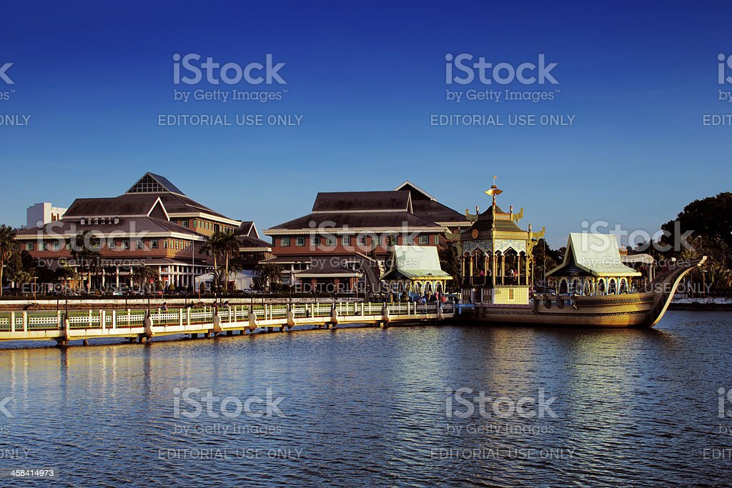 Surrounding area of the majestic Brunei's Mosque stock photo