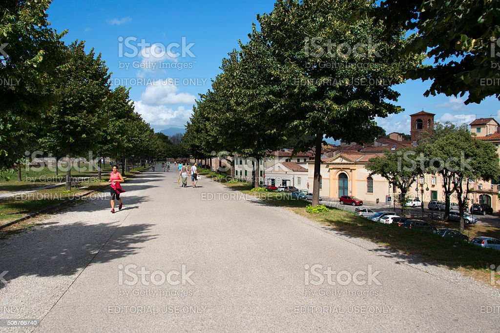 Surrounding wall of Lucca with the Porta San Donato stock photo