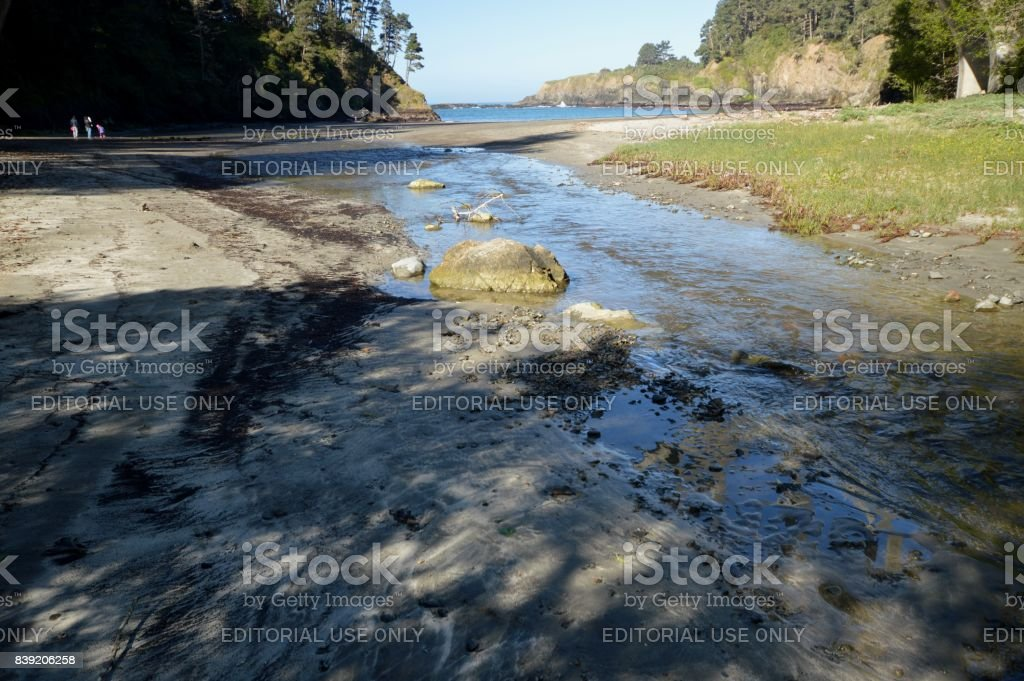 Surroundings at the Frederick W. Panhorst Bridge, more commonly known as the Russian Gulch Bridge in Mendocino County, California USA stock photo
