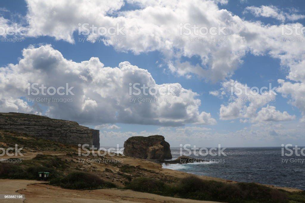 Surroundings of Azure Window Ruins San Lawrenz Gozo Island of Malta at Mediterranean Sea - Royalty-free Agave Stock Photo