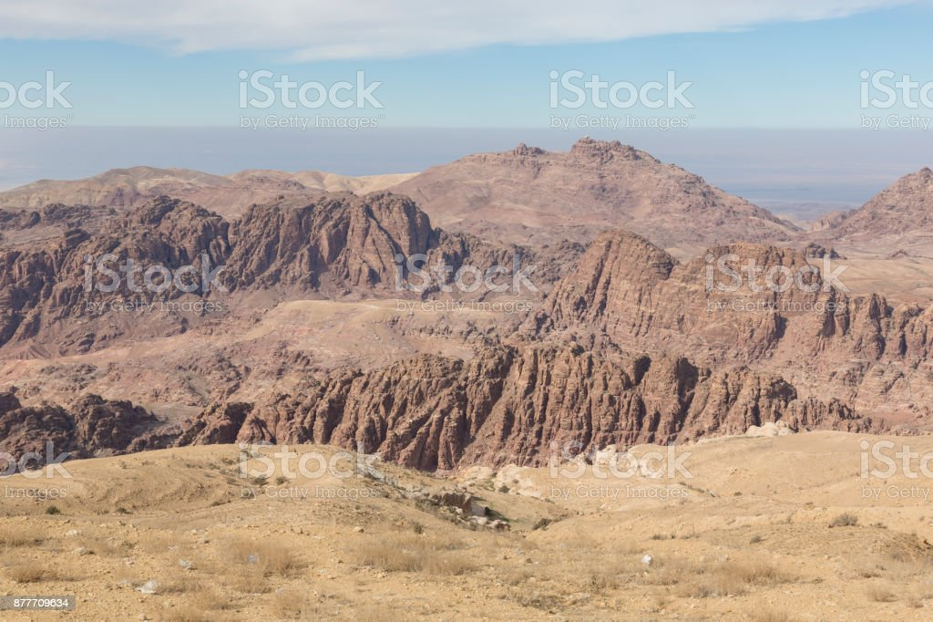 Surroundings of Petra with the Dam and the entrance of the Siq in the foreground, Jordan stock photo