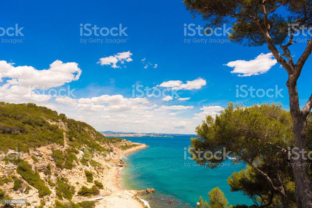 Surroundings of Salou - coast, Tarragona, Catalunya, Spain. Copy space for text Surroundings of Salou - coast, Tarragona, Catalunya, Spain. Copy space for text. Backgrounds Stock Photo