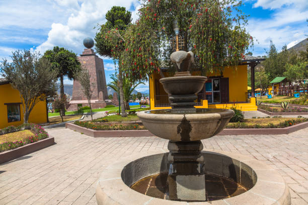 Surroundings of the city Mitad del Mundo Square in the Middle of the World citadel, Ecuador equator stock pictures, royalty-free photos & images