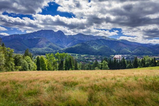Surroundings of the city of Zakopane. View of the Tatra Mountains. stock photo