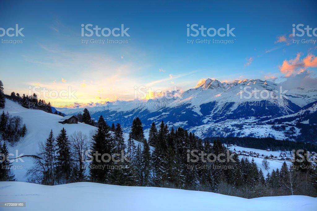 Surselva Winter Sunset stock photo