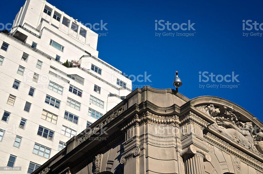 CCTV Surveillance camera on 19th century building facade, Manhattan, NYC royalty-free stock photo